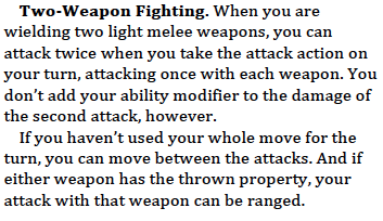 The two-weapon fighting rules from the last D&D Next public playtest packet.