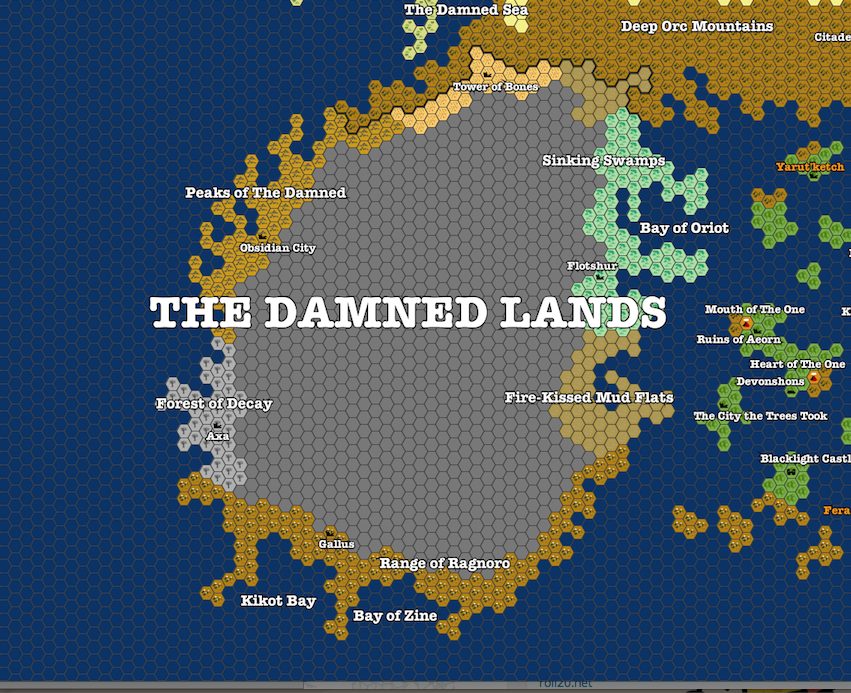 The Damned Lands (dark gray hexes are uncharted territory)