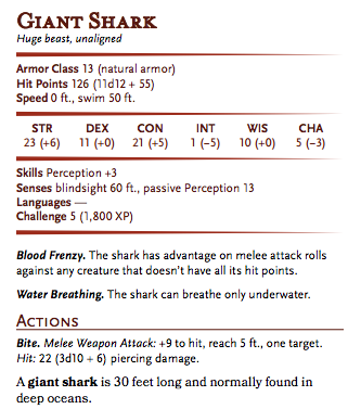 Statistics for the D&D 5e giant shark from the Basic rules.