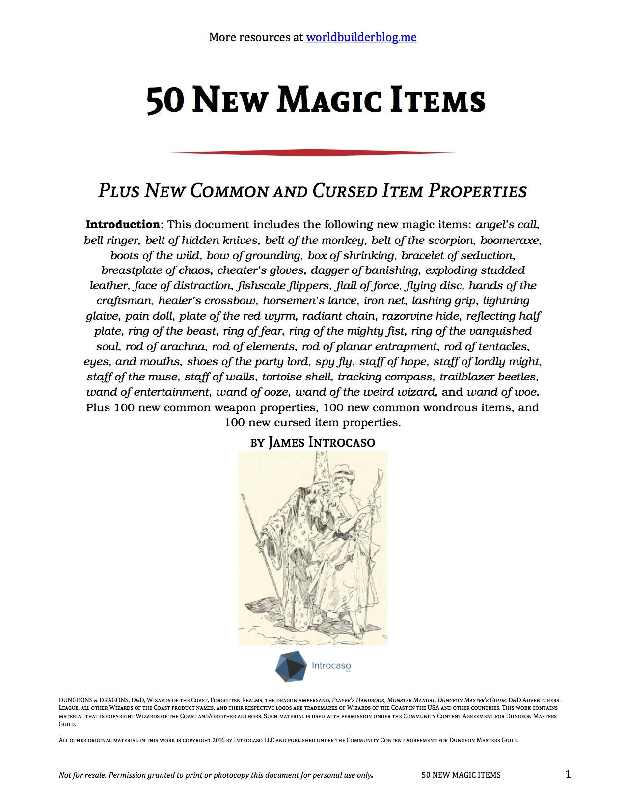 magic items | World Builder Blog